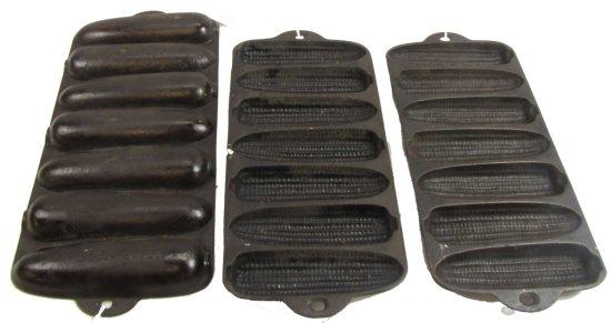3 Krispy Korn Stick Pans; Wagner Ware; (figural Letters On Kinchs); 2 Junior; 1319 & 1 Senior