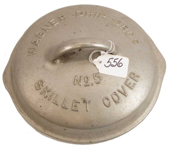 Lid: Wagner Drip Drop Skillet Cover; #5; Raised Letters