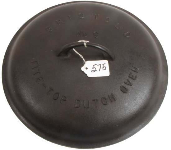 Griswold Tite Top Dutch Oven Lid; #9; Raised Letters; Block Ll; Pn 2552