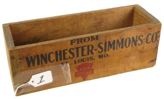 "Wooden Box; From Winchester-simmons; St. Louis; 11 1/2in X 4"" X 3 3/4in"