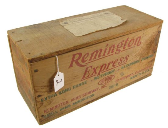 Wooden Ammo Box; Remington Express; 410 Ga.; 3in; 6in; 14in X 6in X 7in; Shipping Label Shapleigh Hd