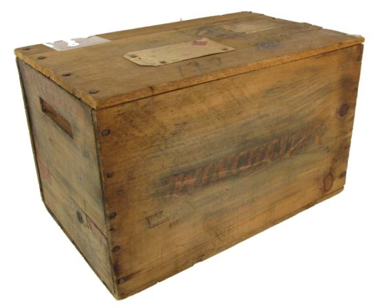 Wooden Ammo Box; Winchester W/lid; Railway Express Shipping Labels; 15in X 9 1/4in X 9 1/4in