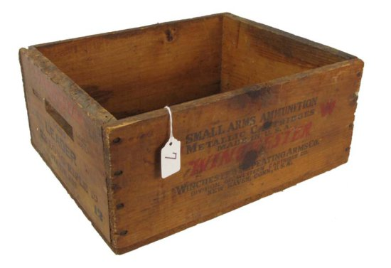 Wooden Ammo Box; Winchester; 22 Long Rifle Leader Staynless; K2388r; W Metallic Cartridges; 14 1/2in