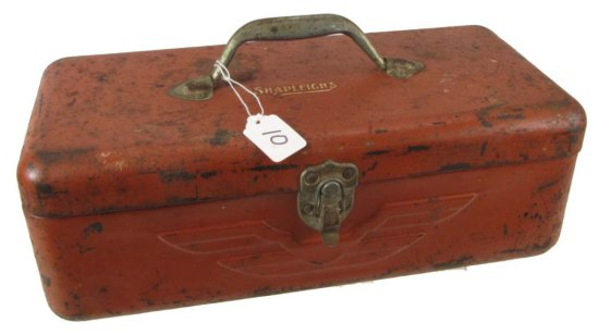 Metal Tackle Box; Shapleigh's; Worn Red; W/tray; 15in