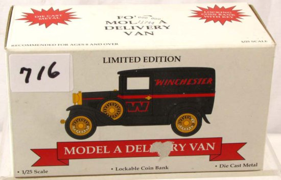 Winchester Model A Delivery Ban; Lockable Coin Bank; Die Cast; #02601 ; Liberty Spec Cast