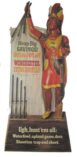 Advertising Die-cut; Stand Up; Easel Back ; Approx. 57in Tall; Indian Chief Featuring 3 Extra Barre