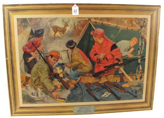 Stand-up; Easel Back; Cardboard Litho Print; Hunting Camp Cardboard Self Framed; Winchester Western;