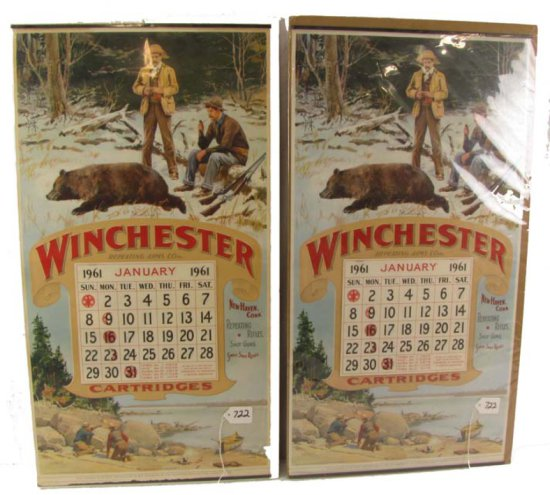 2 Calendars; 1961; Winchester Cartridges; Exact Reproduction Of One Distributed By Winchester Repeat