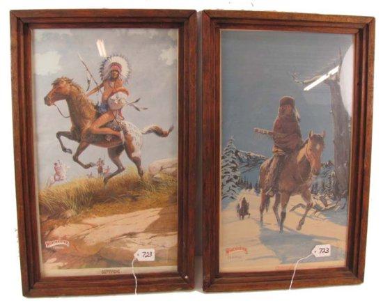 2 Framed Prints; Winchester Ferrara; Framed. 1-1974 Commanche; Indian Chief On Horse & 1977 Cheyenne