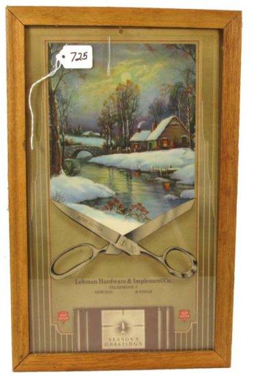 Advertising Store Calendar; Scissors Framing Cottage Scene; Full Pad; Lehman Hdwe & Implement Co. Te