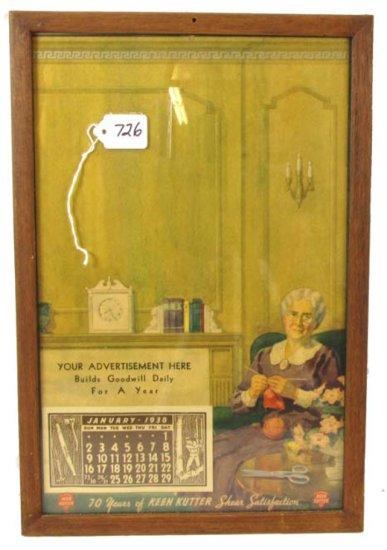 Advertising Store Calendar; Salesman's Sample; 1938; Blank Space For Advertisement; Full Pad; Woman