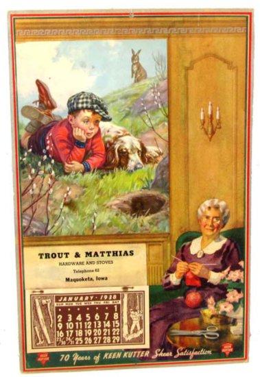 Advertising Store Calendar; 1938; Trout & Matthias; Telephone 62; Maquoketa; Iowa; Full Pad; Hinterm