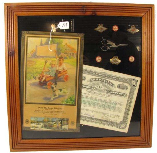 Framed Collage Of Shapleigh Items: Adv. Store Calendar; 1938; Evers Hdwe Co; Full Pad; Hintermeister