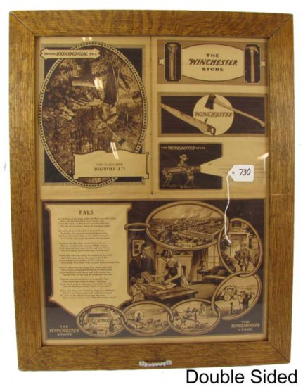 Dbl Sided Mailing Flyer; The Winchester Store; Framed To Show Both Sides; Winchester Products; Sepia