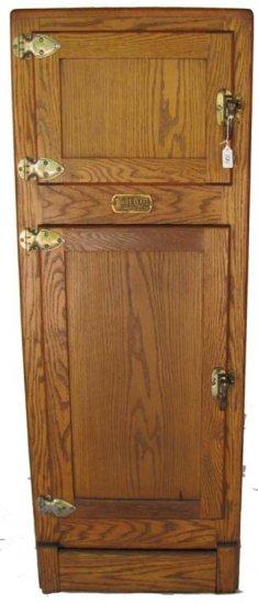 Wooden Ice Box; 19 1/2in X 53in X 15in; Oak; Simmons White Clad; 2 Door; Nice