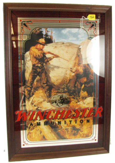 Mirrored Print; Winchester Ammunition; Horse & Rider Logo; Contemporary; 32 1/2in X 22 1/2in