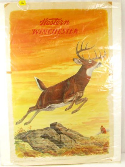 Large Advertising Print; Western Winchester; Leaping Deer; 42in X 28in; Litho; 1955; Olin Mathieson