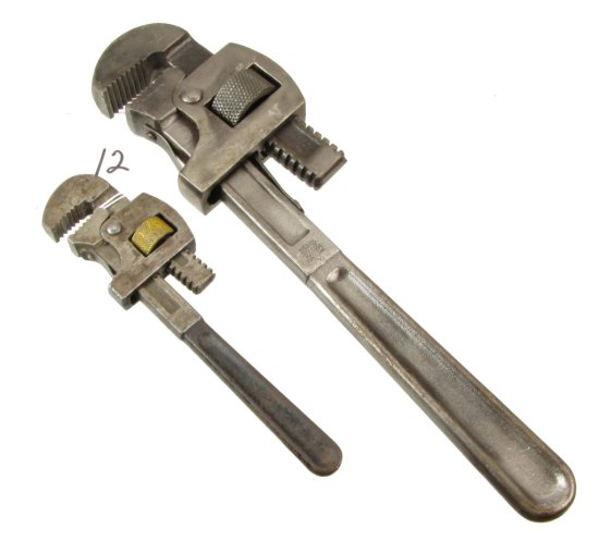 "2 Pipe Wrenches: 14"", 8in, Keen Kutter"