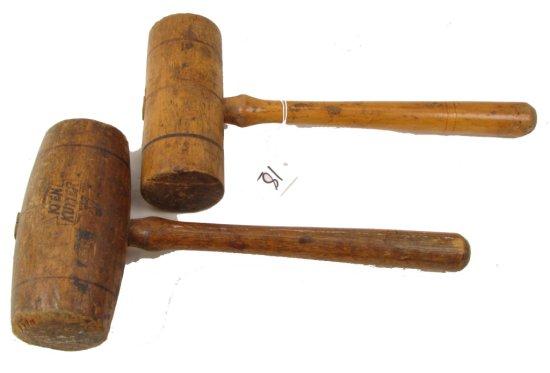 2 Wooden Mallets, Keen Kutter (1 Is Barrel Shaped)