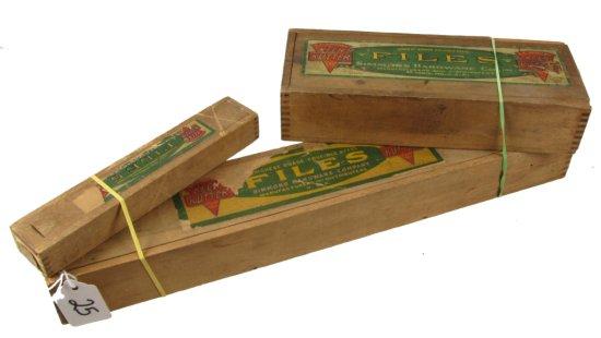 3 Orig. Slide Top Wooden File Boxes, W/assorted Files Inside., Ecs Keen Kutter