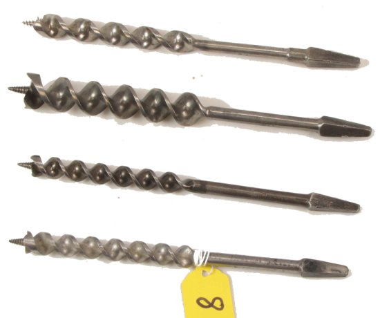 4 Auger Bits, Winchester, 1414-14, (2)1409-9, 1310-10