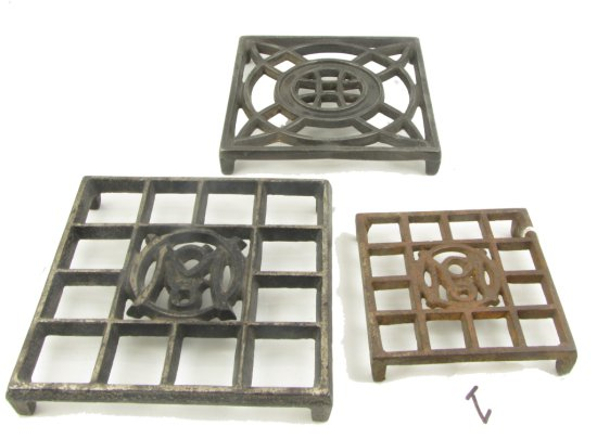 3 Trivets: Toy Ober Om Co; Reg. Ober Om Co & Ober Square No.2