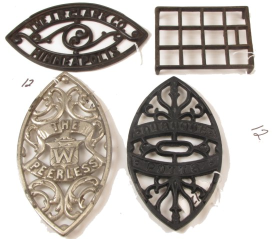 (4) Sad Iron Trivets: Jr Clark; Dubuque; The Peerless; & A Rect. Open Grid One