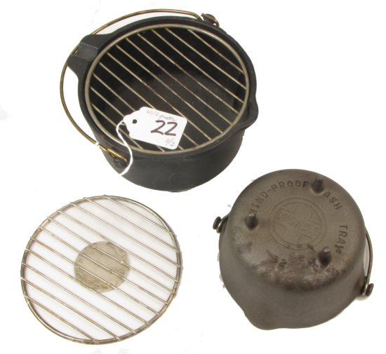 Windproof Ashtrays; Griswold Pn 33 (w/2 Grates) & Pn 32; No Grate