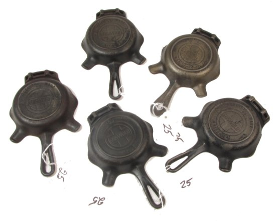 (6) Griswold Ashtrays; 00; Pn 570 Quality Wear- Erie Pa (1 W/patents On Hndl)
