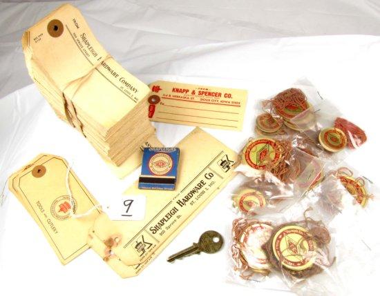 Lg. Lot Of Diamond Edge Shapleigh String Tags; Shapleigh Kk Cardboard Tags; Norleigh Diamond Key; Sh