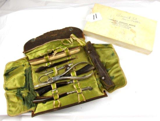 Manicure Set In Leather Case (rough Case); Keen Kutter; W/toenail Cutter. Box From Harold's Jewelry