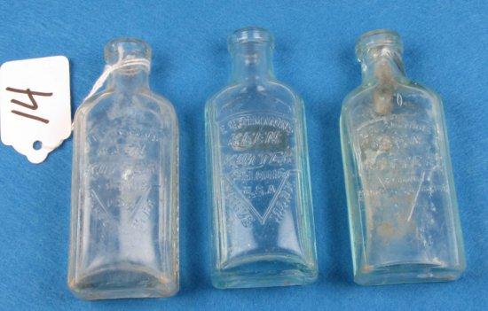 """3-4"""" Glass Oil Bottles; Aqua(2); Clear(1); Ecs Kk Logo"""