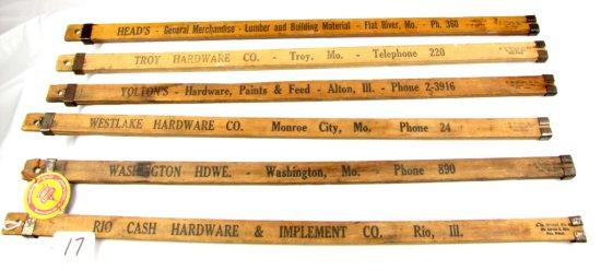 6 Sliding Wooden Yardsticks; Ecs Keen Kutter; Assorted Hdwe. Stores (see Photo)