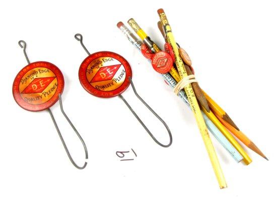 2-bill Hooks; W/celluloid Diamond Edge Quality Pledge & Shapleigh Diamond Edge Carpenter Pencil In O