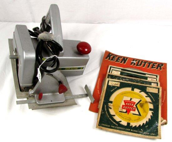 Electric Clutch Saw; Big K Keen Kutter & 8 Assorted Saw Blades (5 In Orig. Pkg)