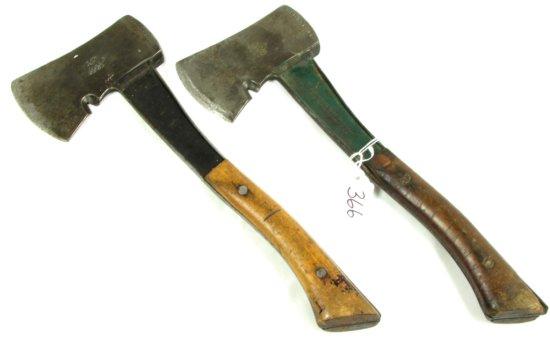 2 Boy Scout Hatchets; All Metal Shank & Head; Wood Grips; Both Bridgeport