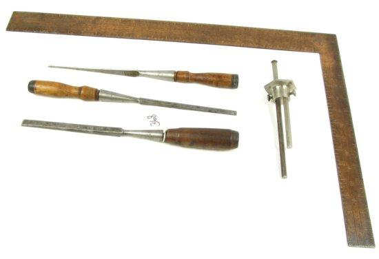 Lot: 3 Ovb Wood Chisels; Dbl. Roller Marking Gauge; Metal; Ovb & Bluegrass Square; Tbgc316; Copper F