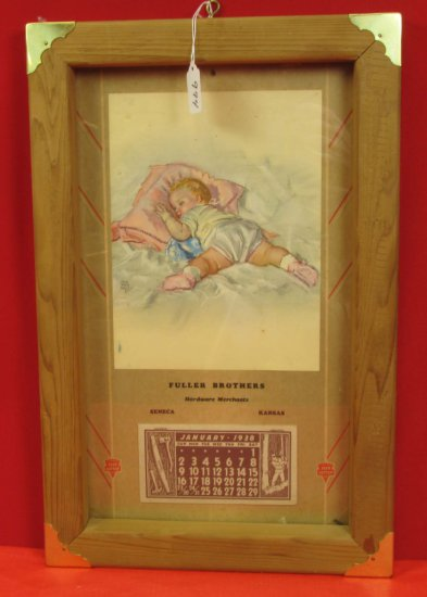 Calendar; 1938 Ecs Keen Kutter; Full Pad; Fuller Brothers; Seneca Kansas; Baby On Pillow; Framed