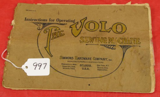 Operating Manual; The Volo Sewing Machine; Simmons Hdwe. Co.
