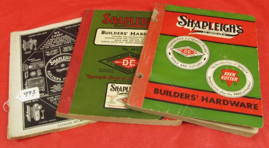 3 Shapleigh Builder's Catalogs: 1935 #401a (diamond); 1939 #425(de); 1949 #450 (kk & De)