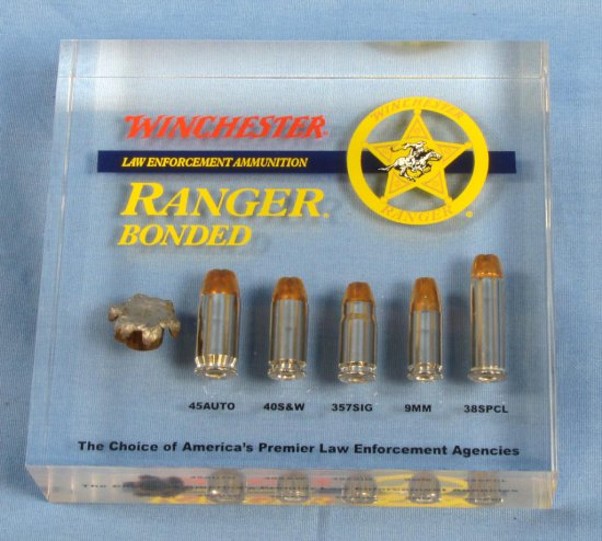 "Advertising; Desk Paperweight? Solid Clear Acrylic; 5"" X 5 1/2"" X 3/4""; Winchester; ""ranger Bonded"