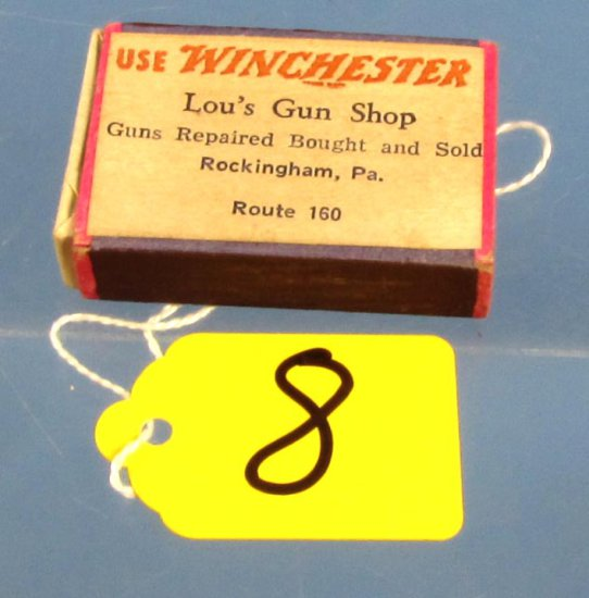 Pocket Box Of Stick Matches; 'use Winchester; Lou's Gun Shop; Rockingham; Pa Route 160;' Has Man &