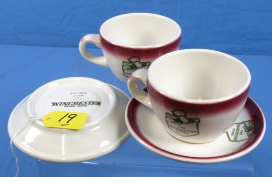 2 Cups & 2 Saucers; Buffalo China -the Winchester Store (w/the Logo Of The Winc. Store Line); W/ Wi
