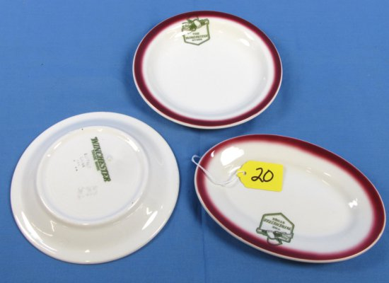 2 Dessert Plates & 1 Sm. Oval Platter; Buffalo China- The Winchester Store (w/the Logo Of The Winc.