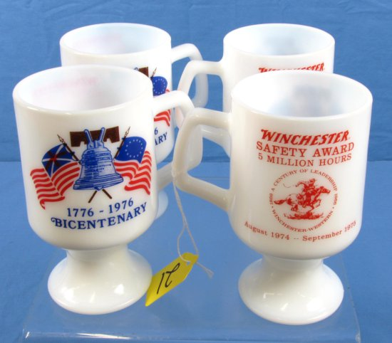 4 Milk Glass Stemmed Mugs; 1776-1976 Bicentenary; Winchester Safety Award; 5 Million Hours; W/horse