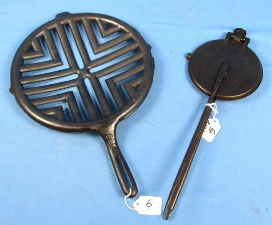 2 Items: Bottom Of Erie Skillet Grill Pn 878 & Paddles; Only; Griswold Wafer Iron (pat'd 6-29-1880