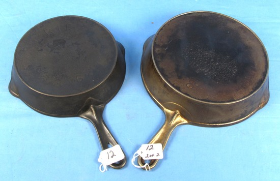 """2 Skillets: """"erie""""; #8; Pitted; Nickel; Erie; #6; Some Pitting"""