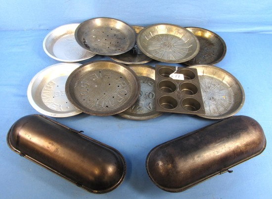 Lot Of Tinware (advertising): Up & Up Cake Flour Muffin Tin; 2 Bread Pans (oblong; 2 Pc) Ideal Mfg