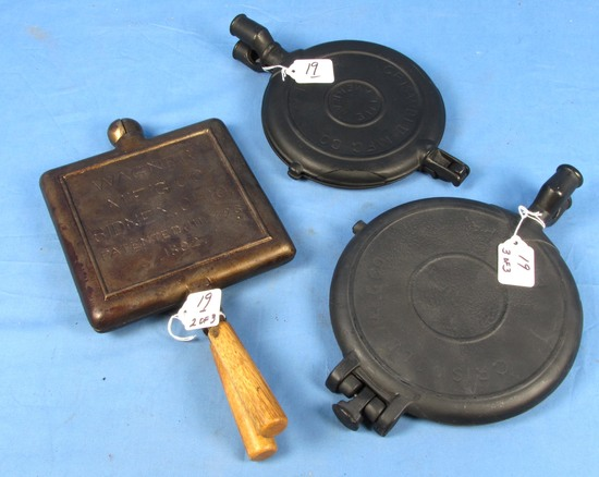 Waffle Iron Paddles (only) 3 Pr: Griswold #7 The American; (cracked) Finger Hinge; Griswold 8-9; Bu