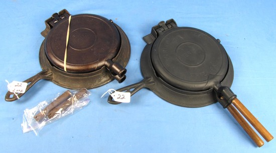 2 Waffle Irons; Griswold The American; Button Hinge; No. 8; 8-9